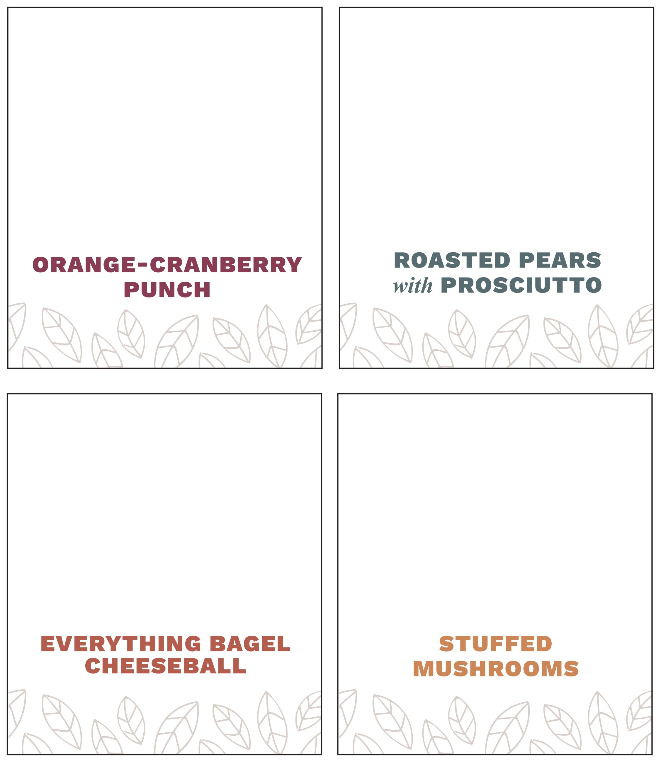 appetizer placecards
