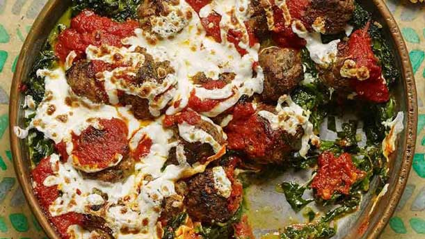 Meatball & Creamed Spinach Skillet