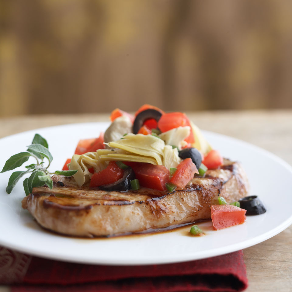 Grilled Peppered Pork Chops with Mediterranean Relish