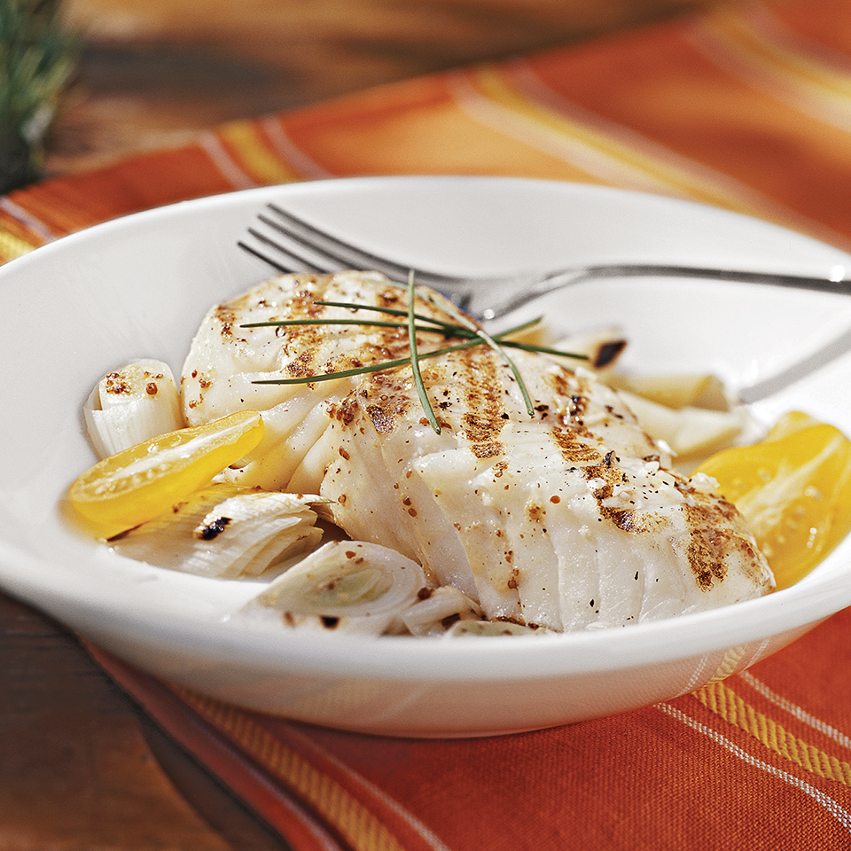 Grilled Halibut & Leeks with Mustard Vinaigrette