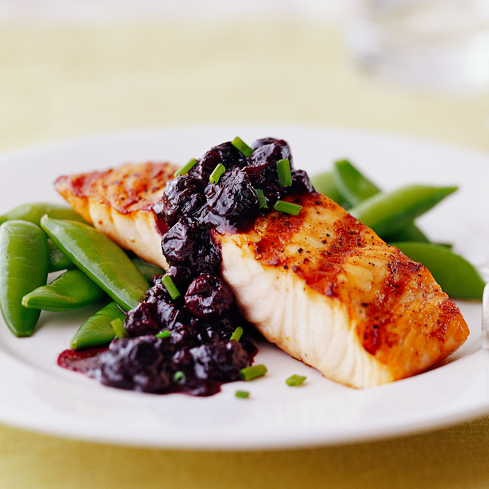 Grilled Salmon with Blueberry Sauce