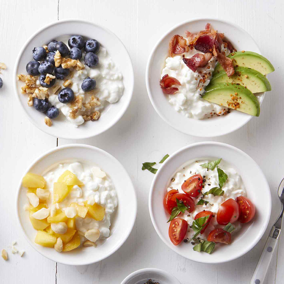 bowls of cottage cheese with toppings