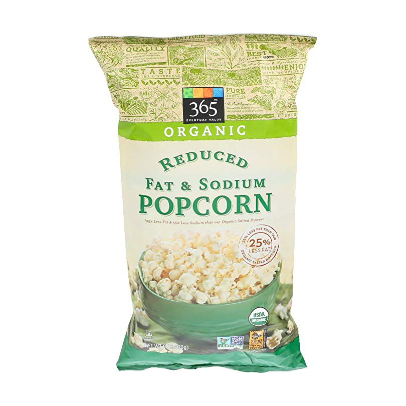 organic reduced fat and sodium popcorn