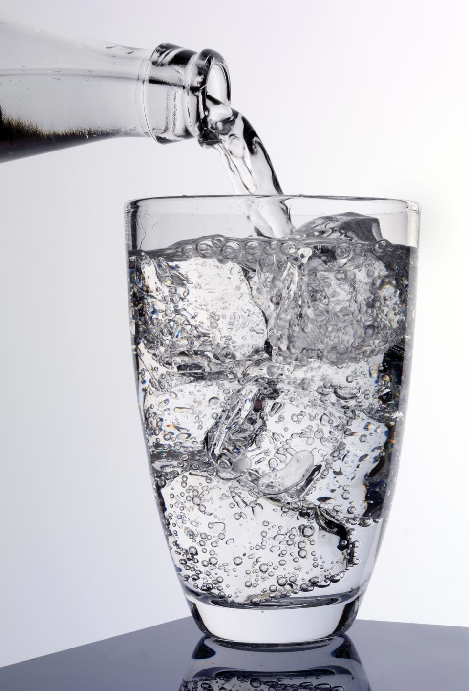 seltzer water poured in glass
