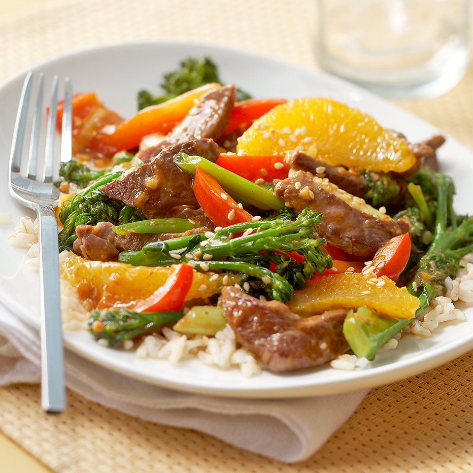 Sesame Orange Beef & Broccolini Stir-Fry