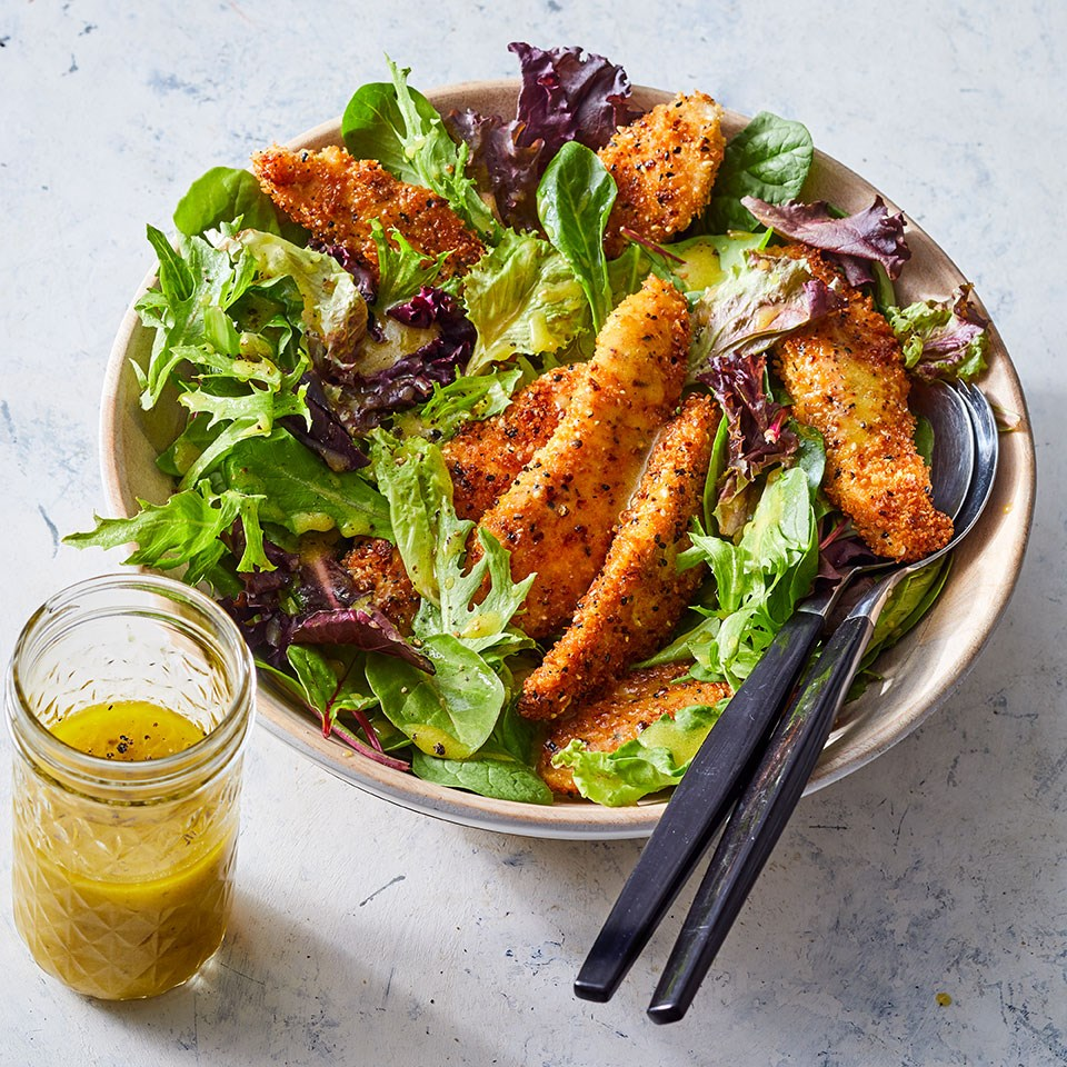 salad with chicken tenders and side of honey mustard