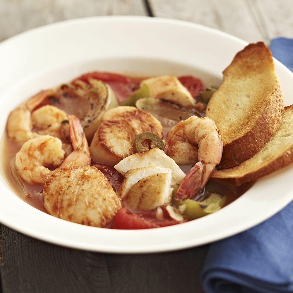 Seafood Stew with Toasted Baguette Slices