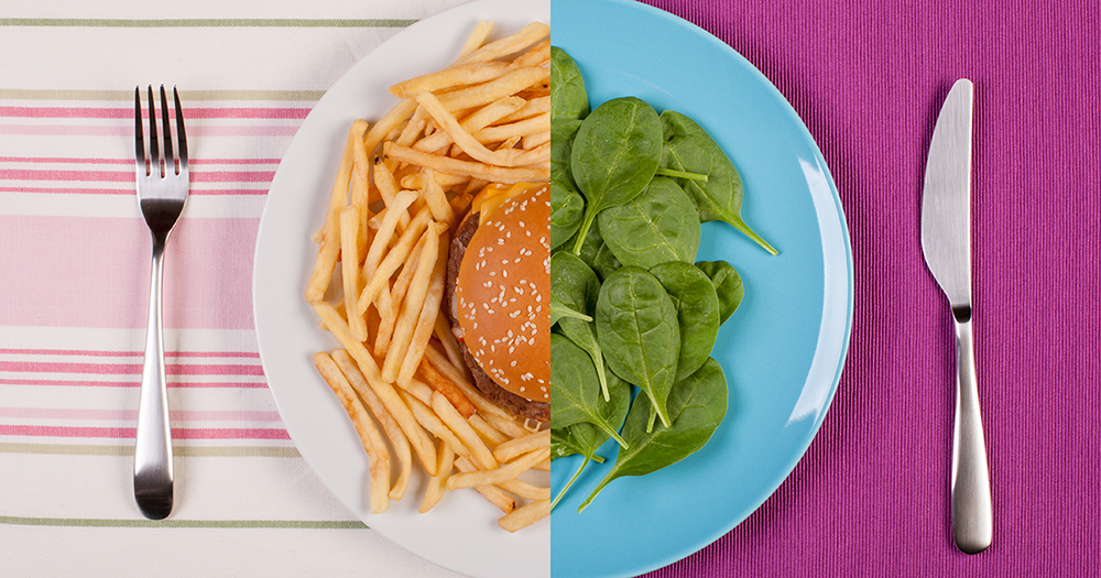 plate with hamburger and fries and spinach