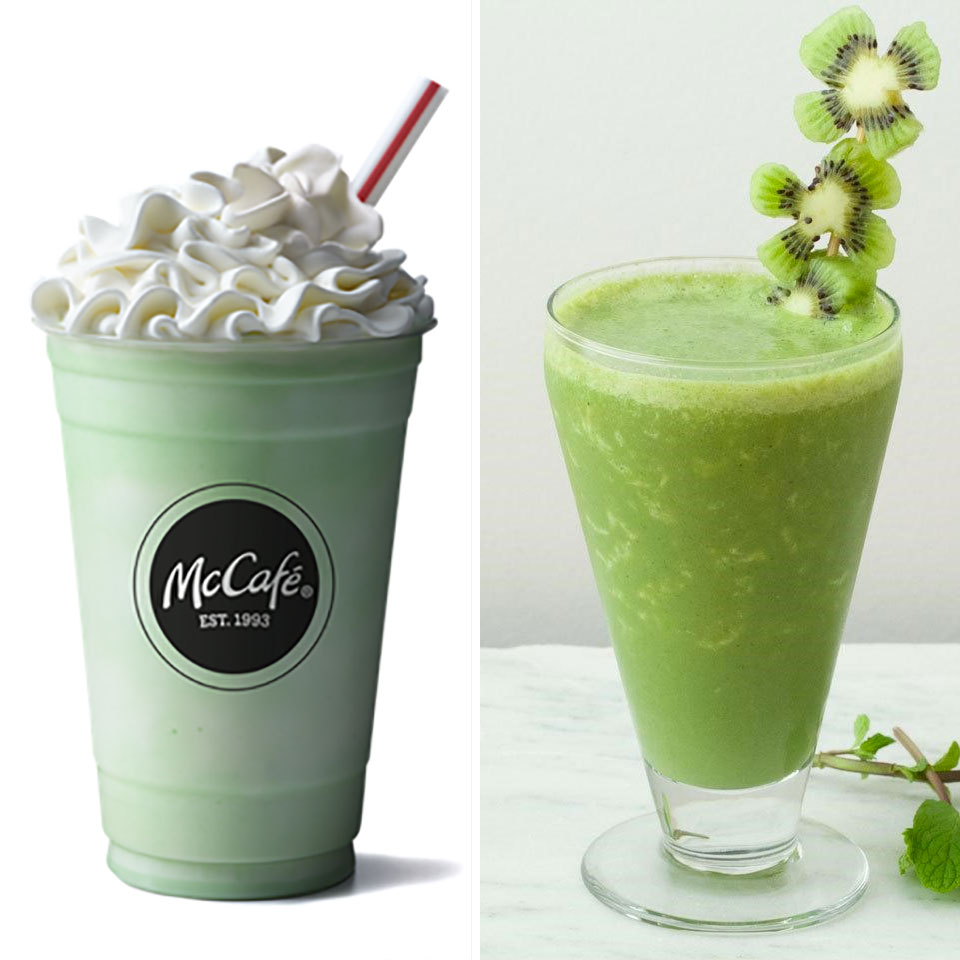Shamrock shake vs. shamrock smoothie