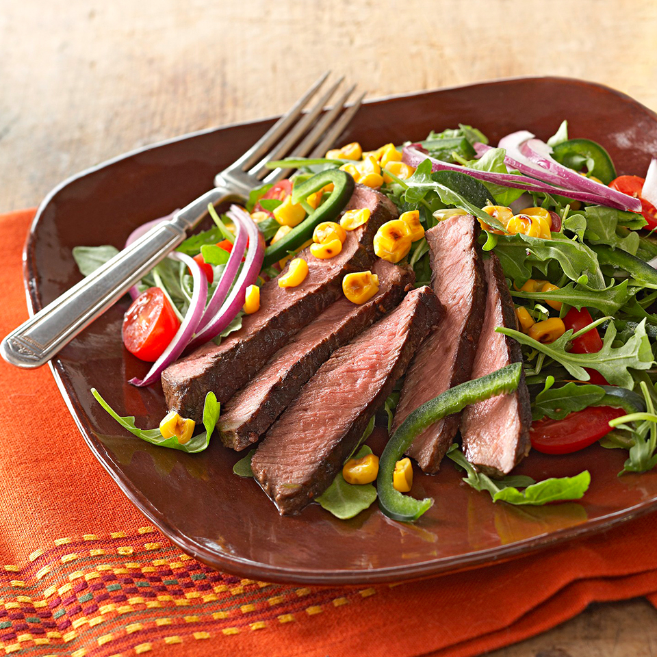 Sweet-Spiced Sirloin on Arugula with Skillet Corn