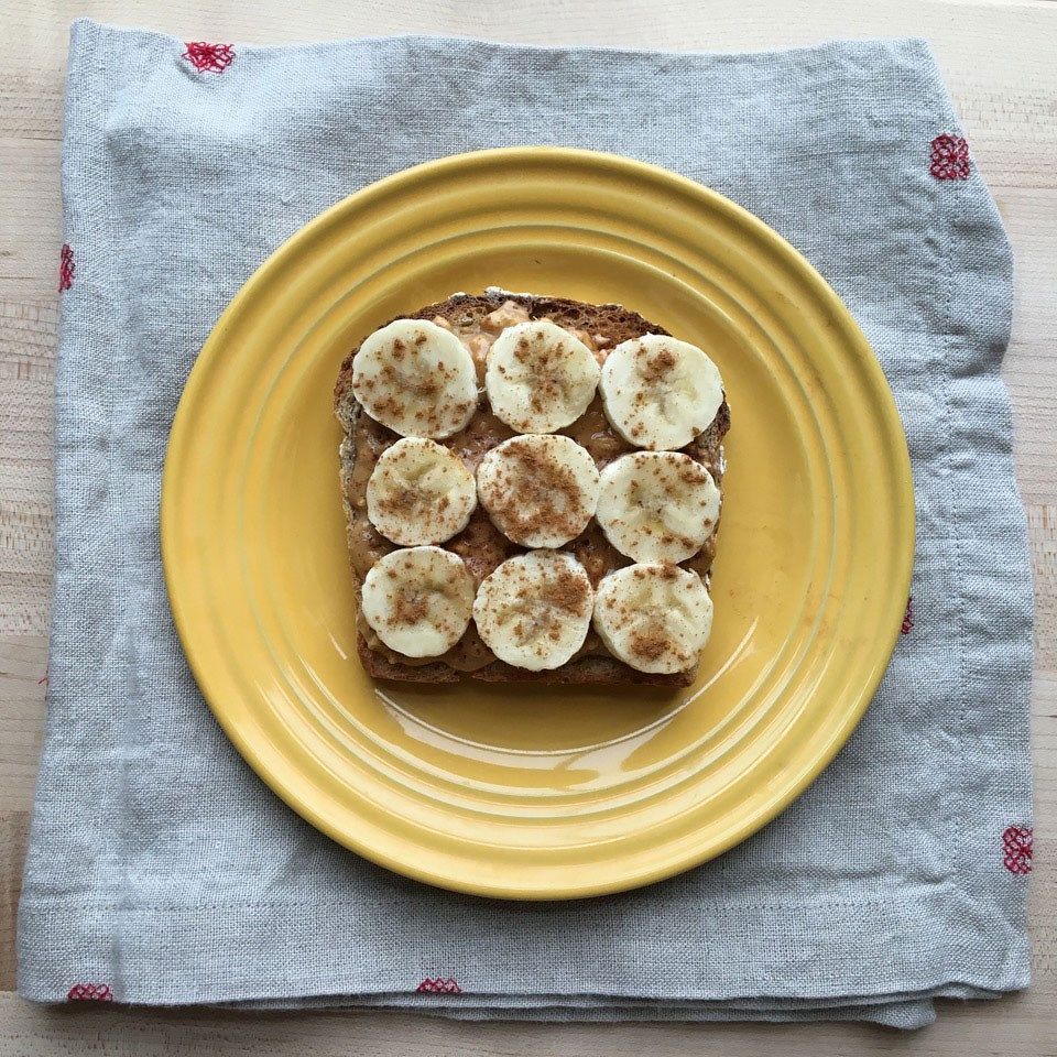 Whole-wheat toast with nut butter and banana