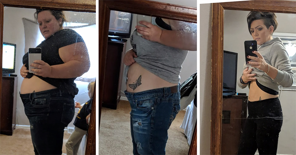 woman documenting 185 pound weight loss