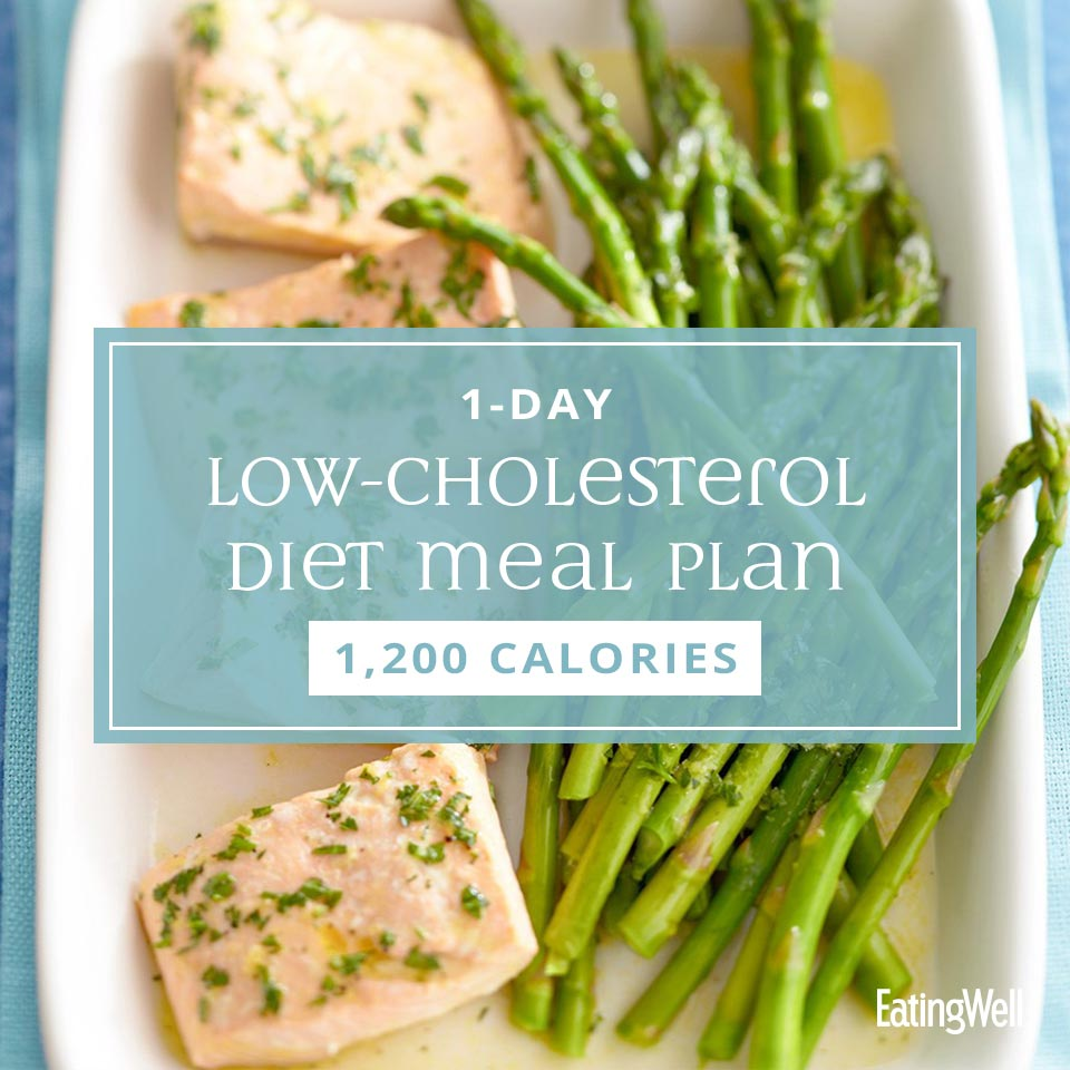 Low-Cholesterol Diet Meal Plan, salmon and asparagus on platter