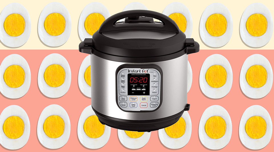 instant pot against background of eggs