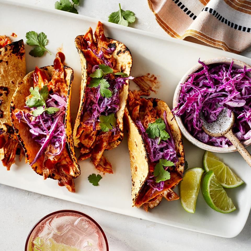 BBQ Chicken Tacos with Red Cabbage Slaw