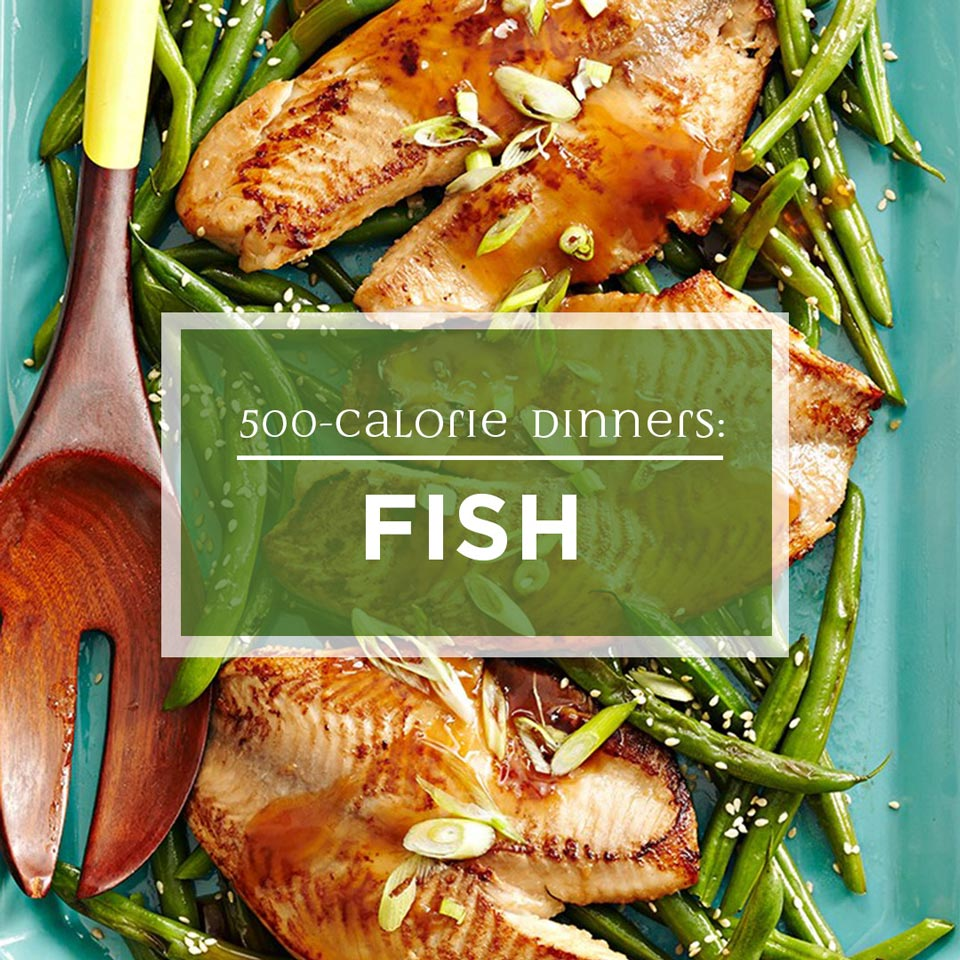 asian tilapia on a platter with sesame green beans