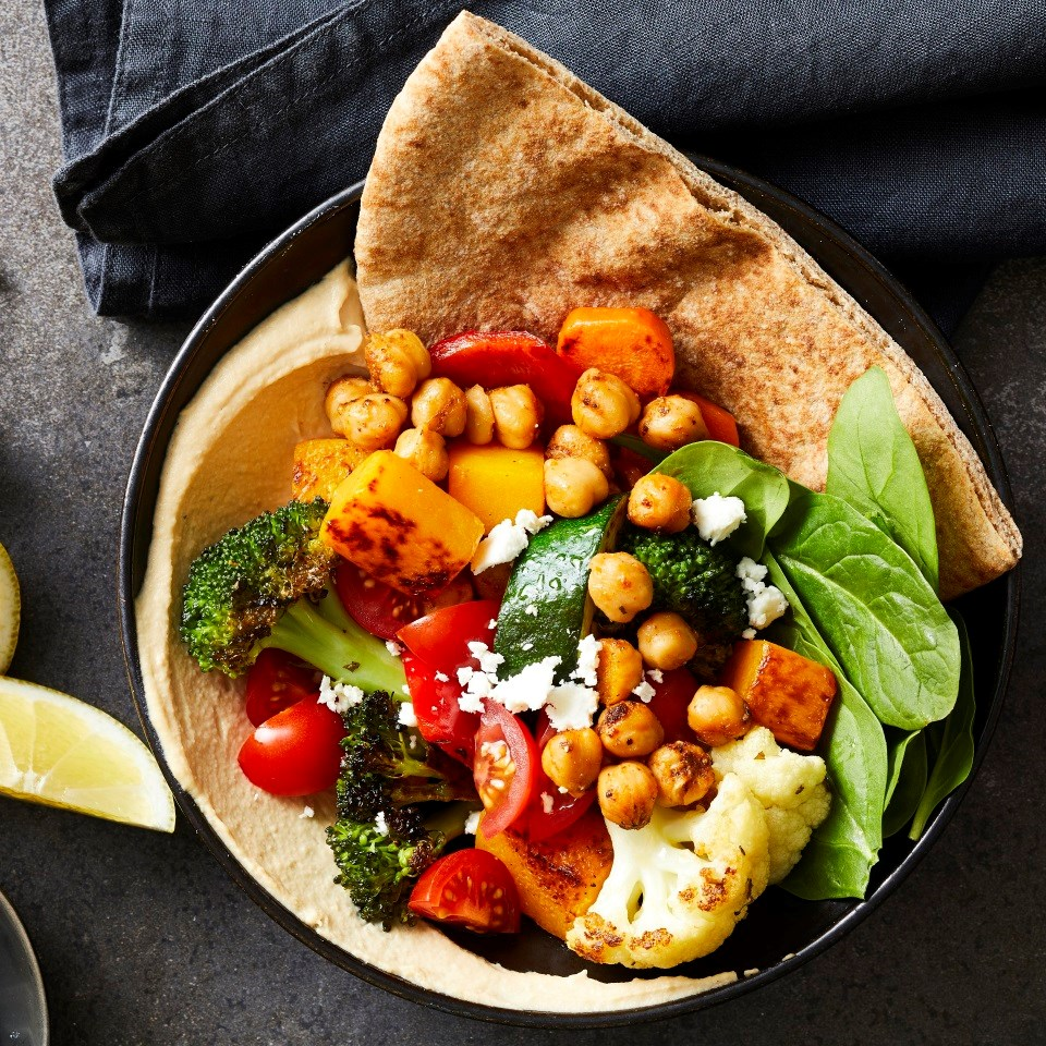 Piled-High Greek Vegetable Pitas