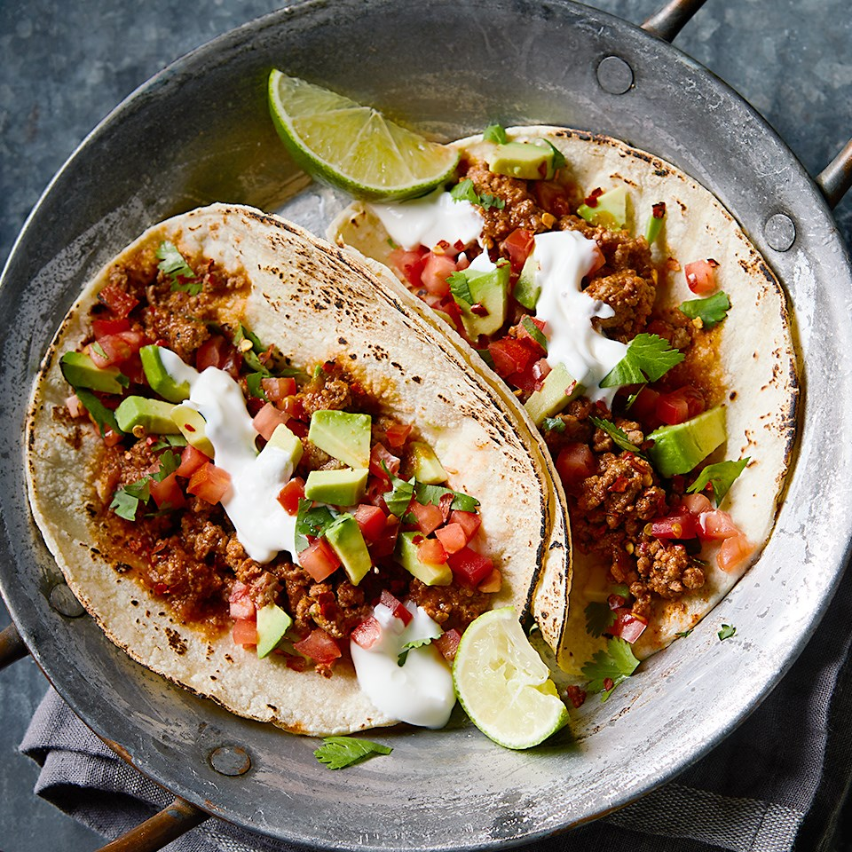 Chipotle Beef Tacos with Tomato-Avocado Pico de Gallo