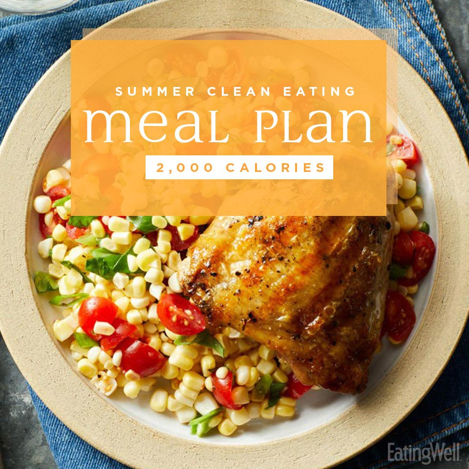 Clean-Eating Meal Plan for Summer: 2,000 Calories, grilled chicken with corn salad on a plate