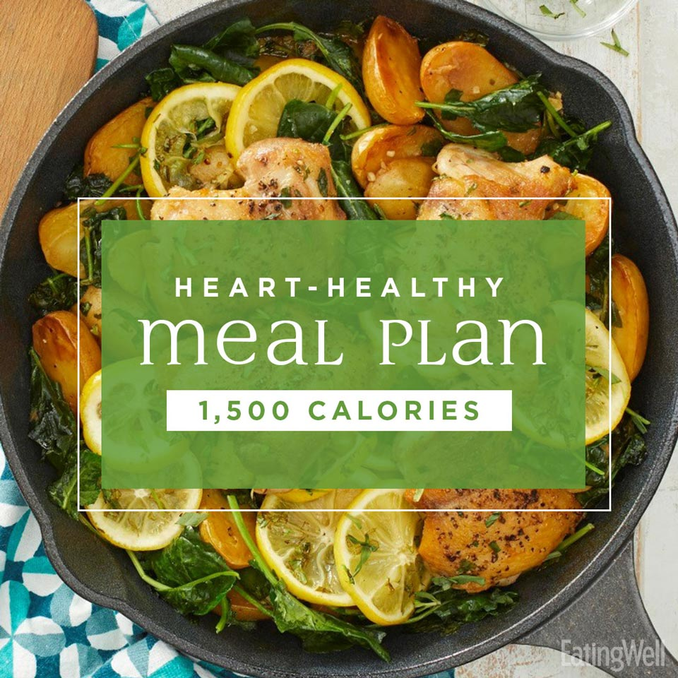 Heart-Healthy Meal Plan: 1,500 Calories, skillet chicken and lemon with potatoes