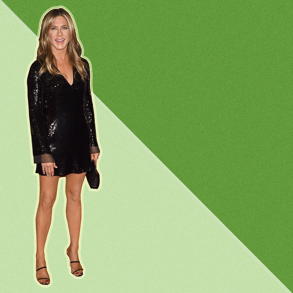 Jennifer Anniston against a green geometric background