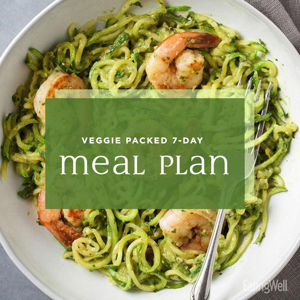 Veggie-Packed Dinner Plan, spiralized zucchini noodles with pesto and shrimp