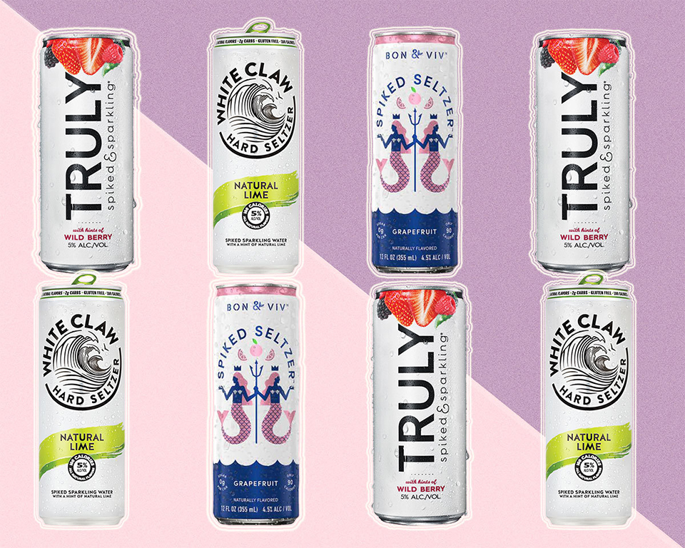 various brands of hard seltzer canned drinks