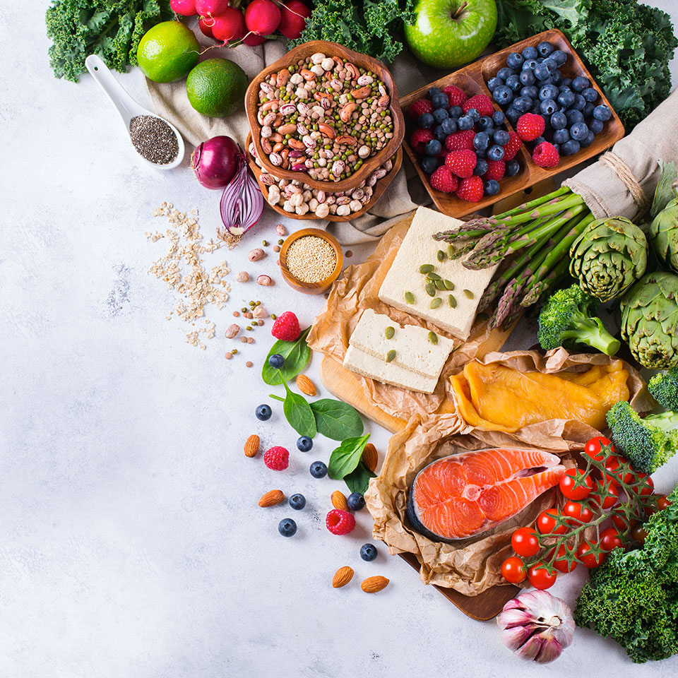 a variety of fruits, veggies, grains, and meats