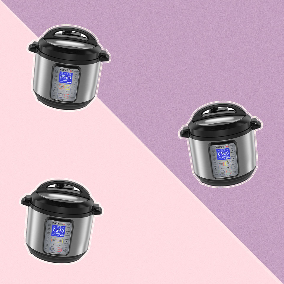 Instant Pots against a purple background