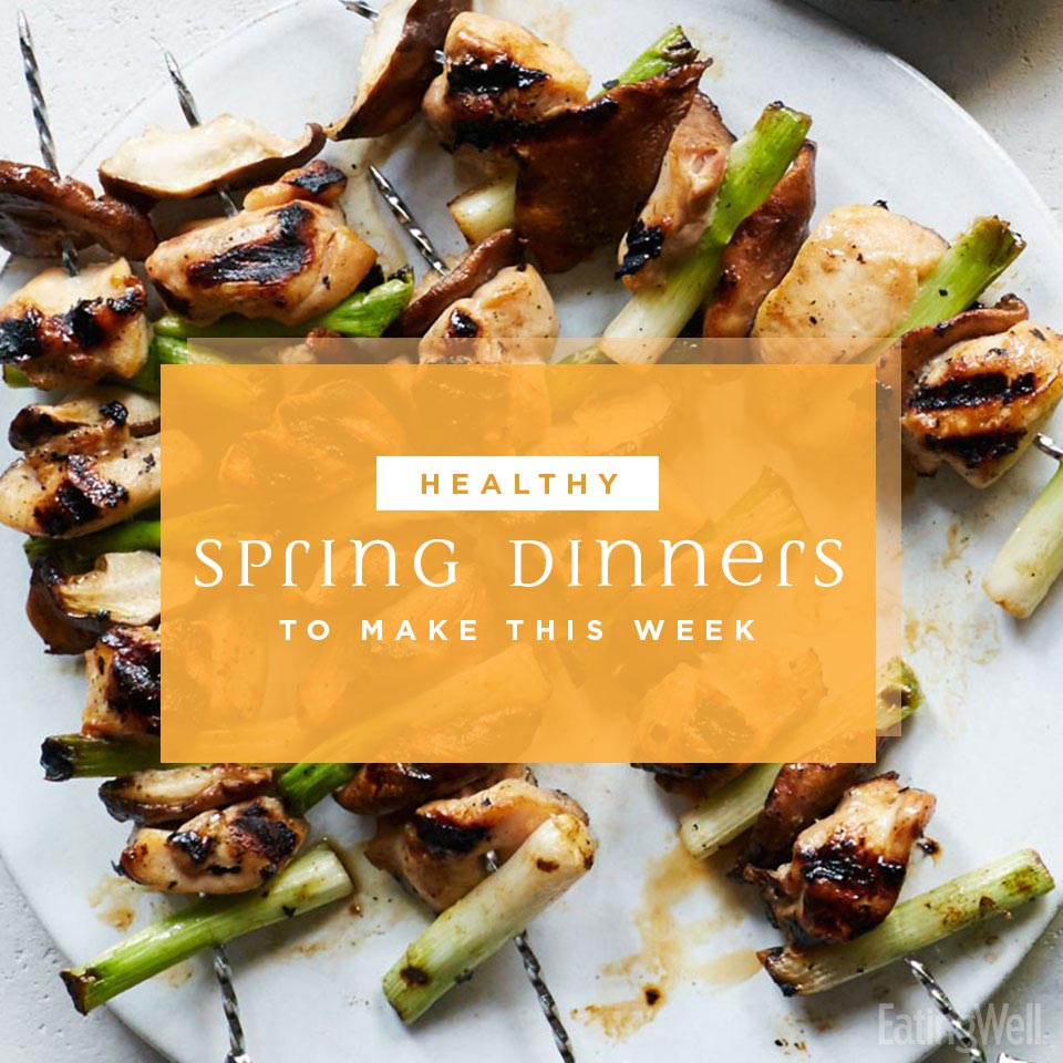 Healthy Spring Dinners, Grilled Chicken and Scallion Skewers