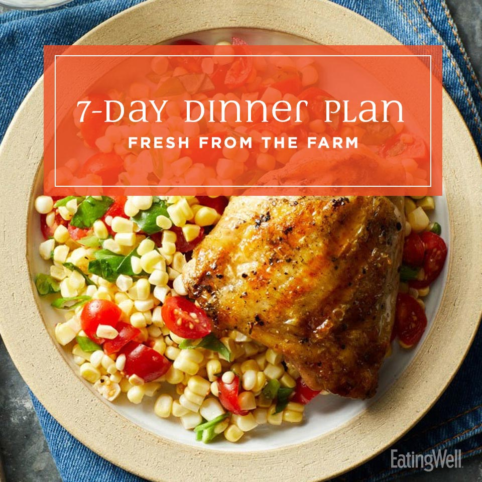 Fresh From the Farm Dinners, grilled chicken over a fresh summer corn salad