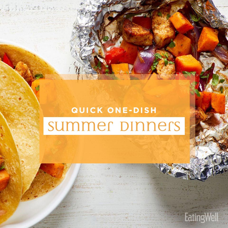 Quick One-Dish Dinners for Summer, chicken and veggie fajita grill packets