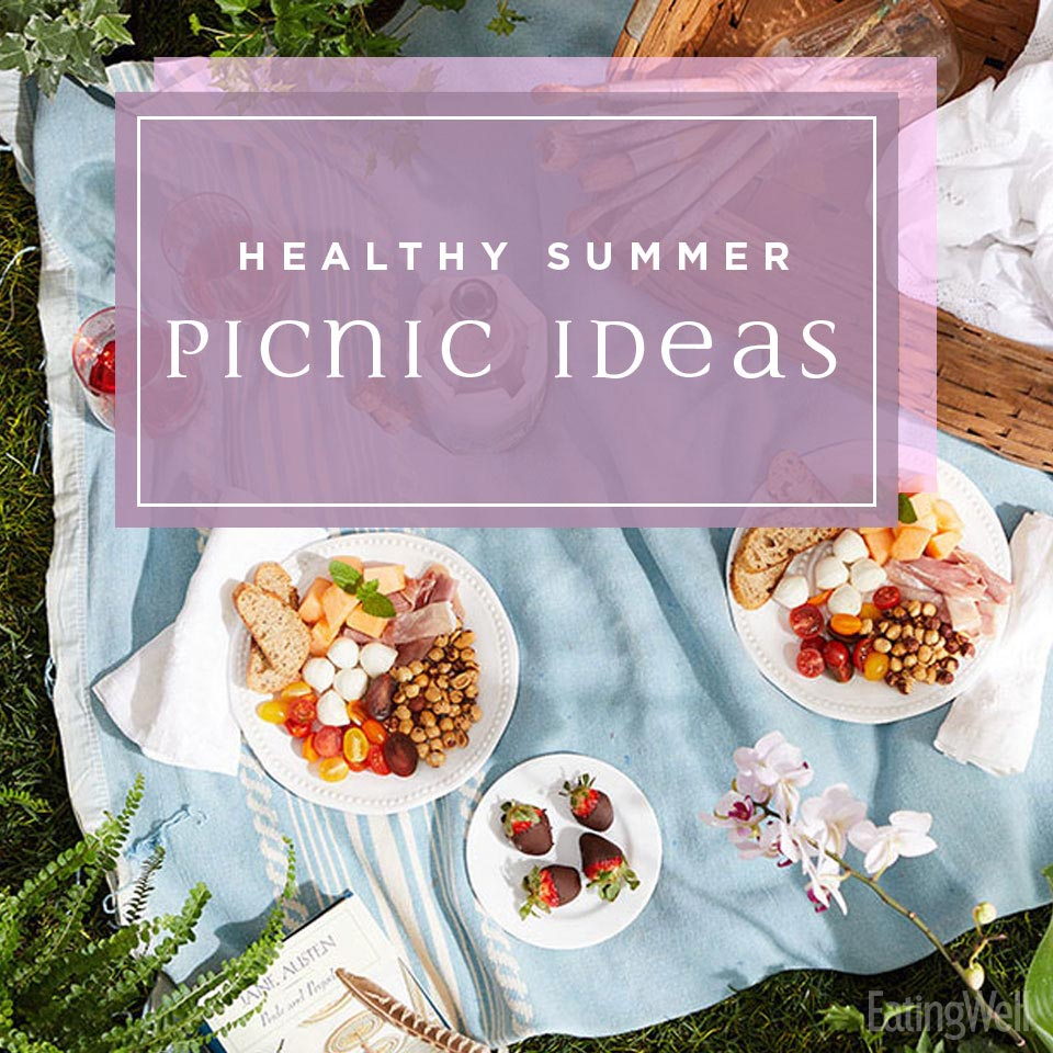 Healthy Picnic Ideas, picnic foods on a blanket on grass