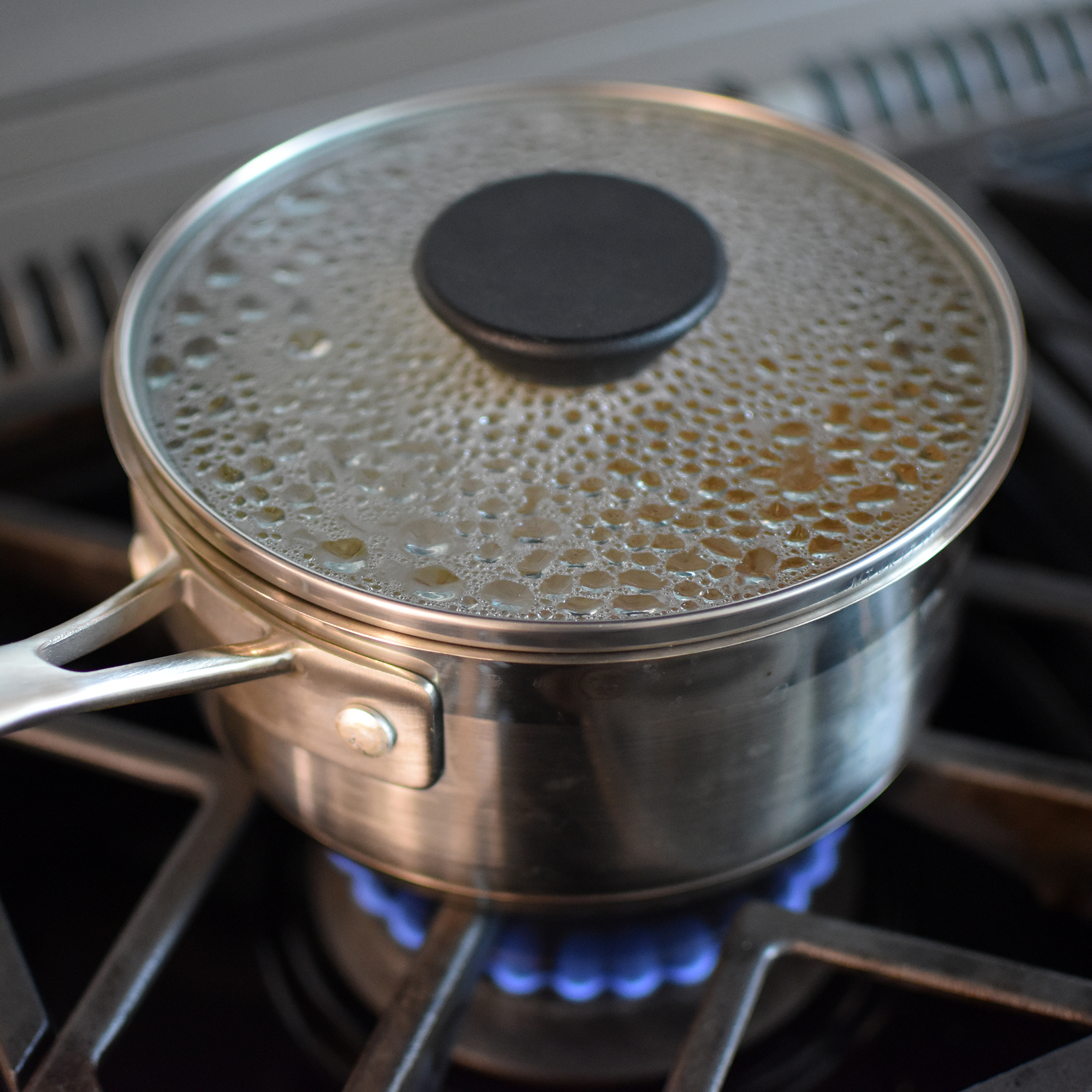 quinoa cooking on stove in saucepan
