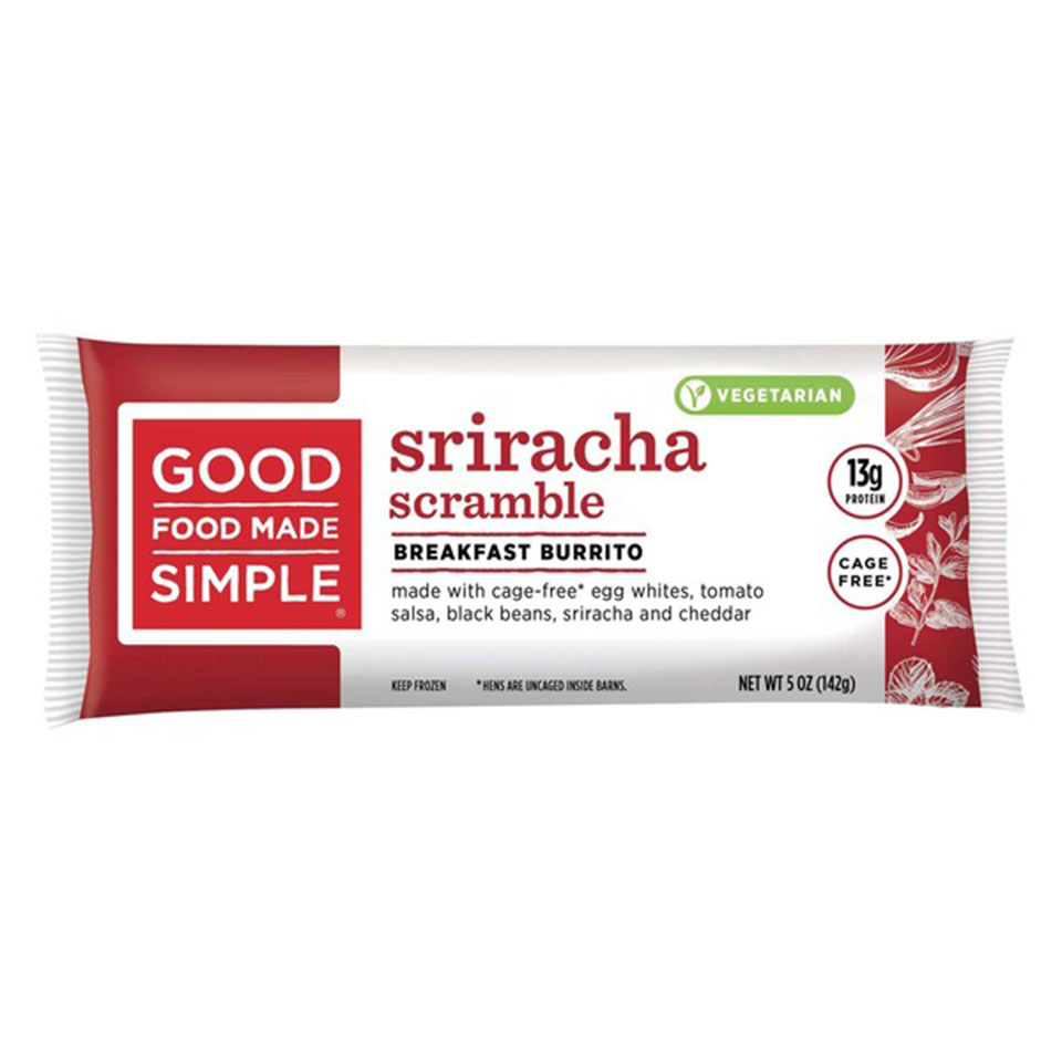 Good Food Made Simple Sriracha Scramble packaged burrito