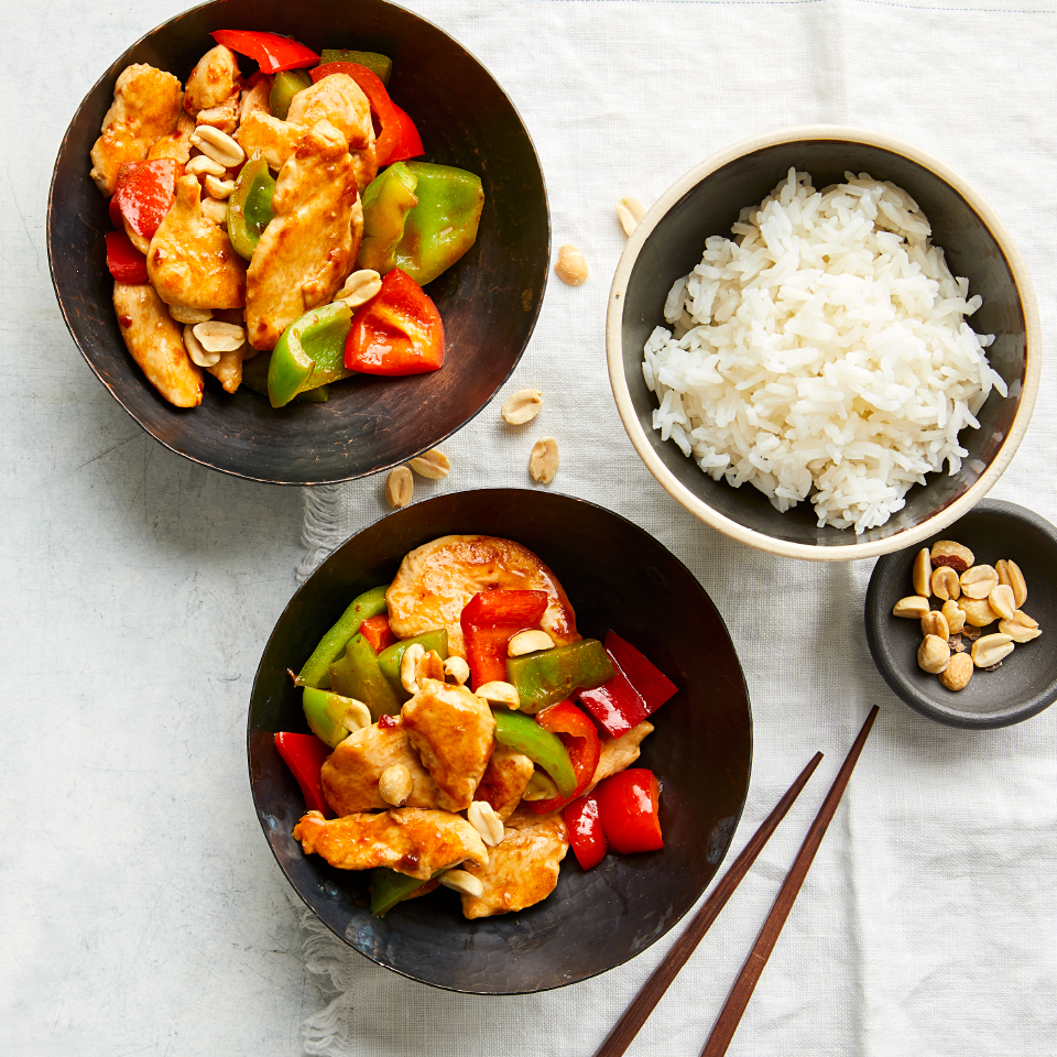 bowls of chicken and peppers