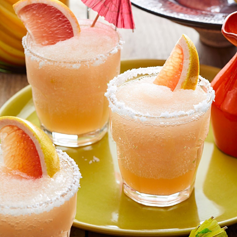 frozen grapefruit margaritas on a tray
