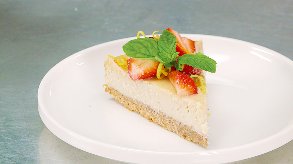 plated slice of vegan cheesecake