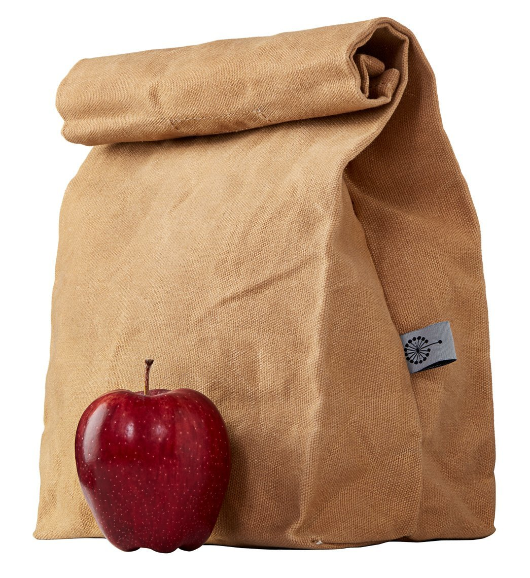 colony co. brown bag lunch box with red apple in front on white background