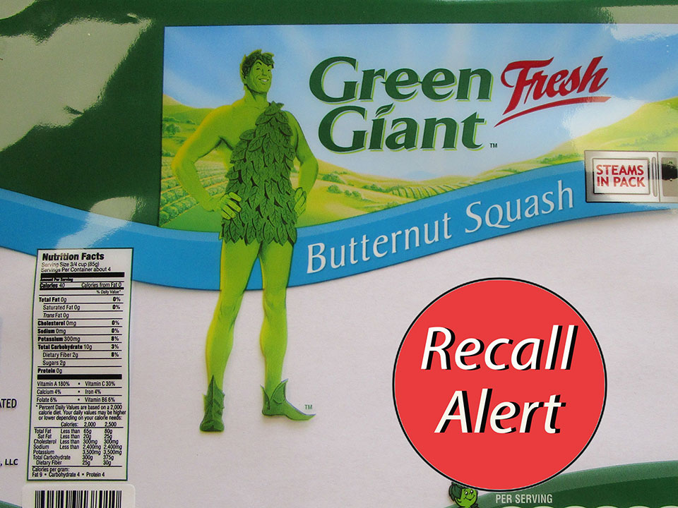 Green Giant packaged Butternut Squash with Recall Alert sticker
