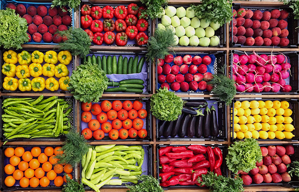 boxes of fresh vegetables