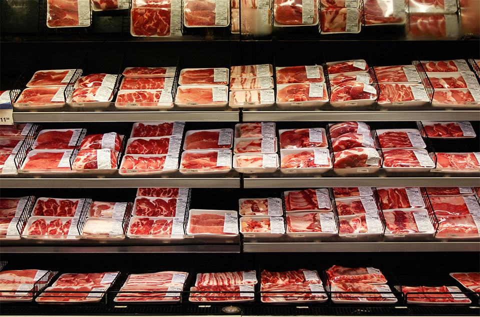 packaged beef in a grocery store cooler