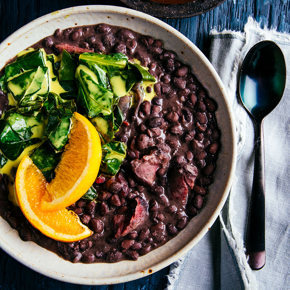 Smoky Slow-Cooker Black Beans with Collard Greens