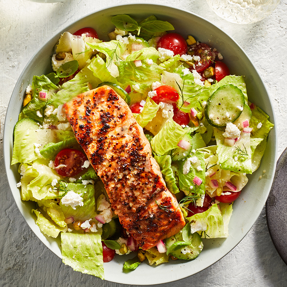 Grilled Salmon & Cucumber, Fresh Herb & Feta Salad