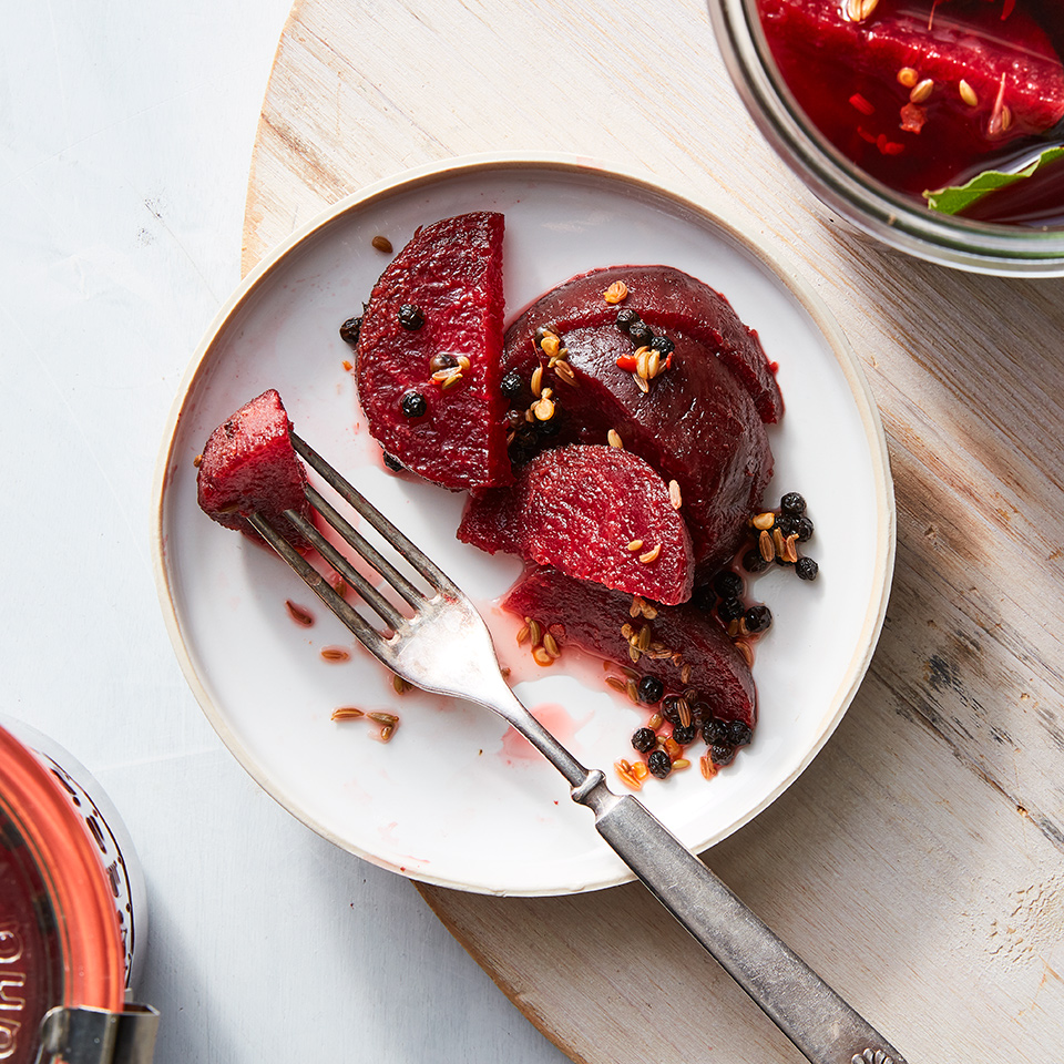 Easy Fennel & Peppercorn Pickled Beets