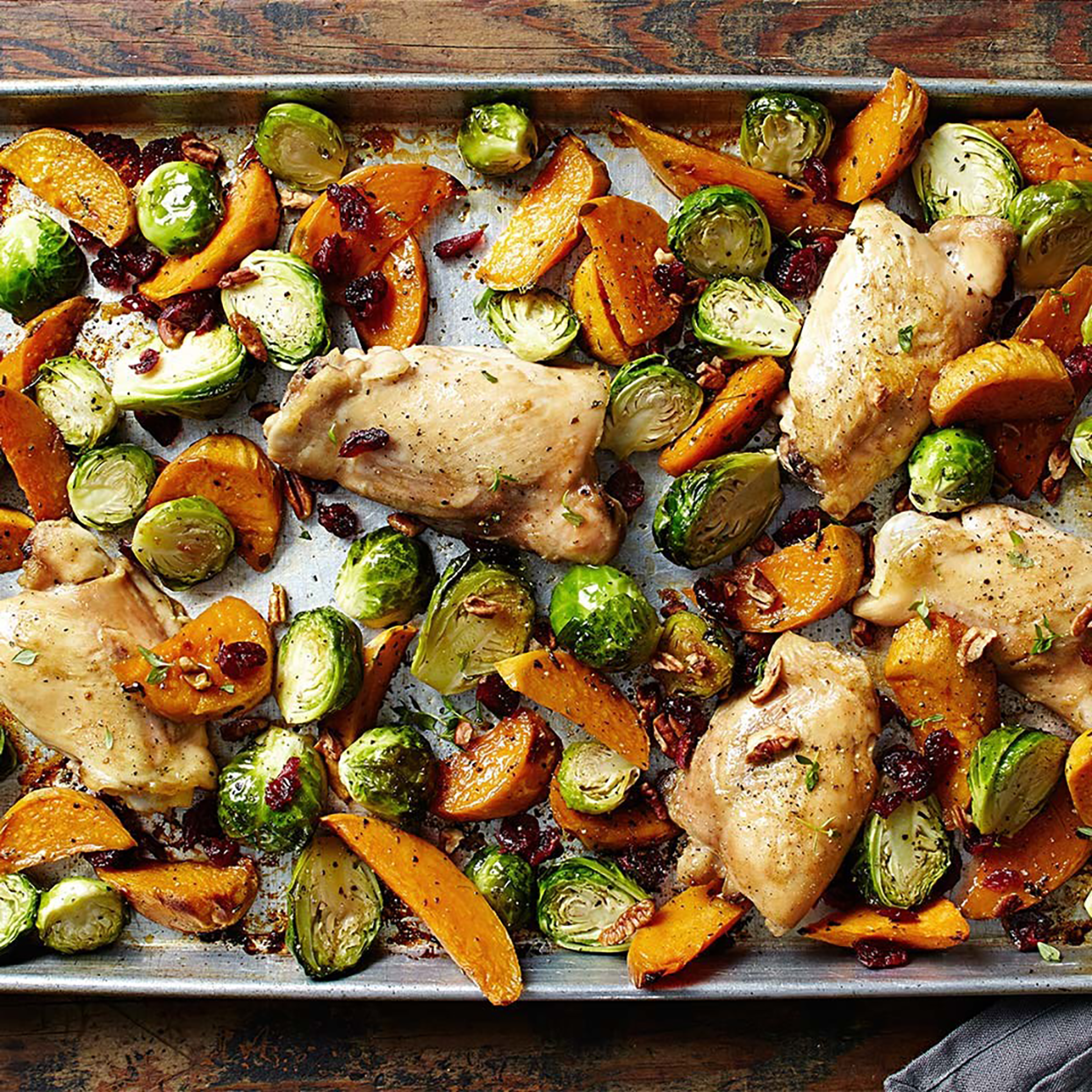 Maple-Roasted Chicken Thighs with Sweet Potato Wedges & Brussels Sprouts