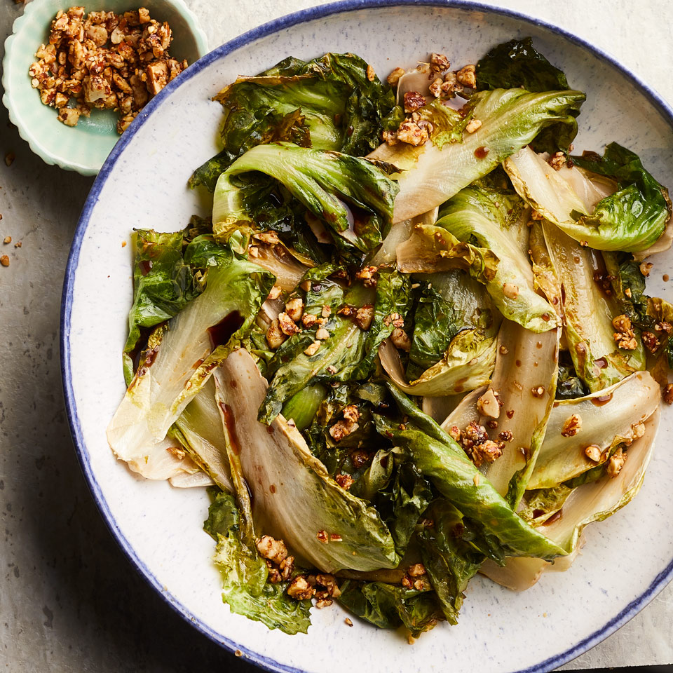 Roasted Escarole with Almond Breadcrumbs