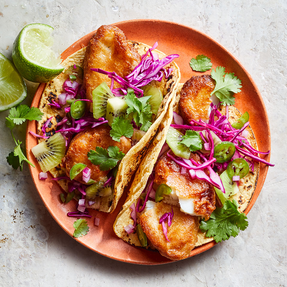 Easy Fish Tacos with Kiwi Salsa