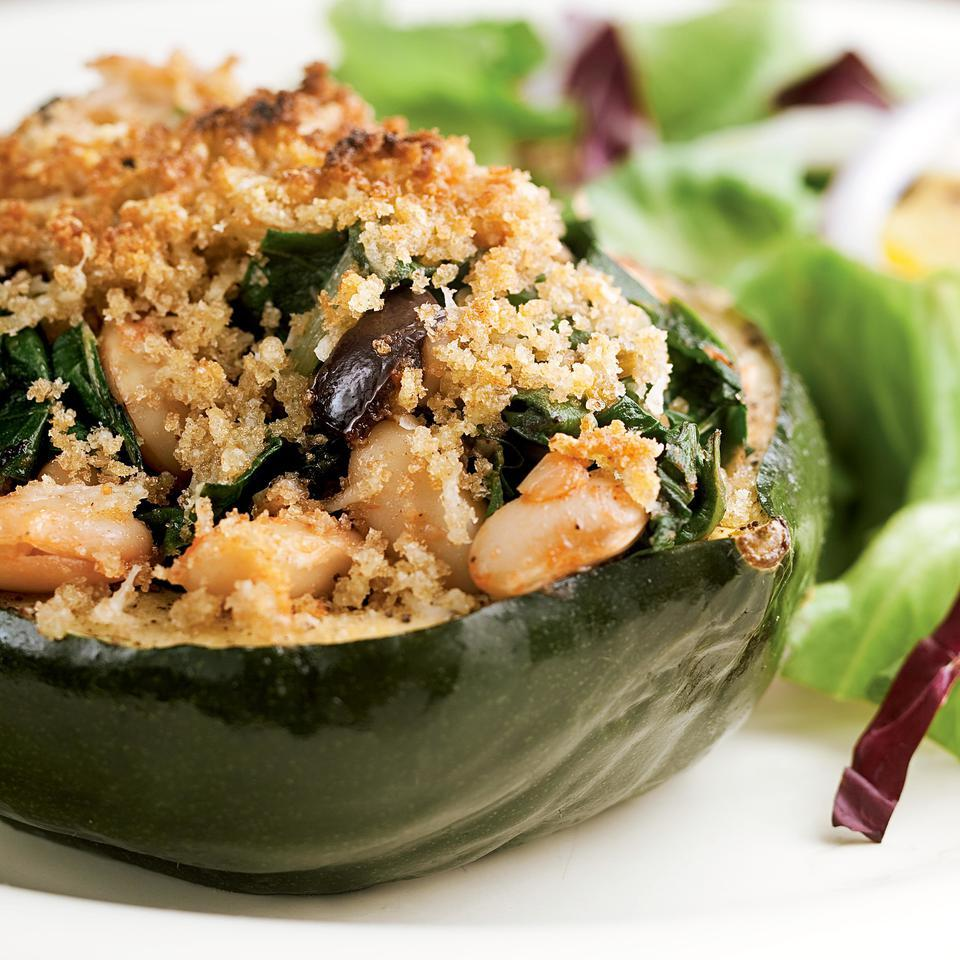 Acorn Squash Stuffed with Chard & White Beans for Two