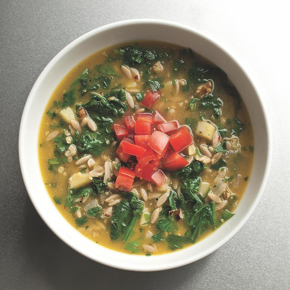 Rustic Parsley & Orzo Soup with Walnuts